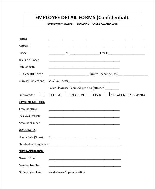 Sample Medical Form – Employee Details Form Sample