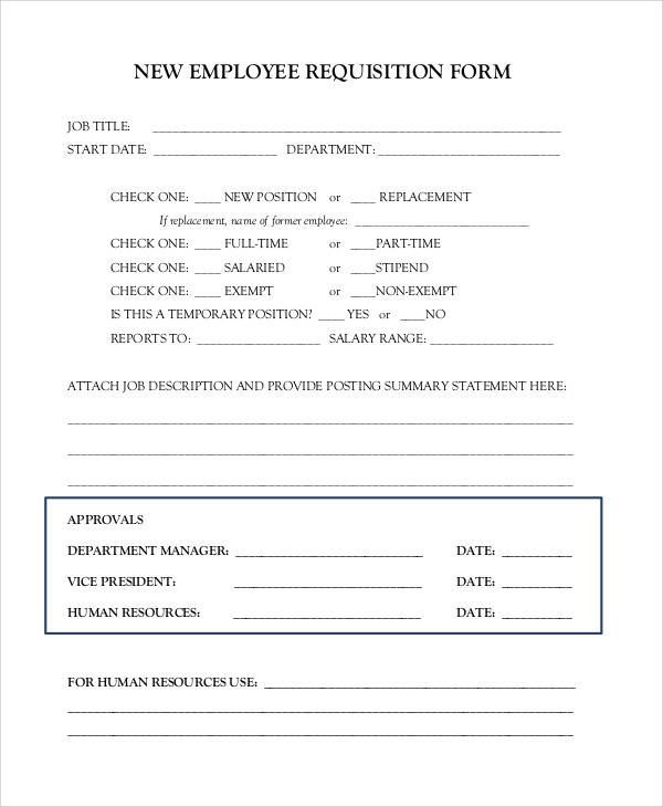 new employee requisition form