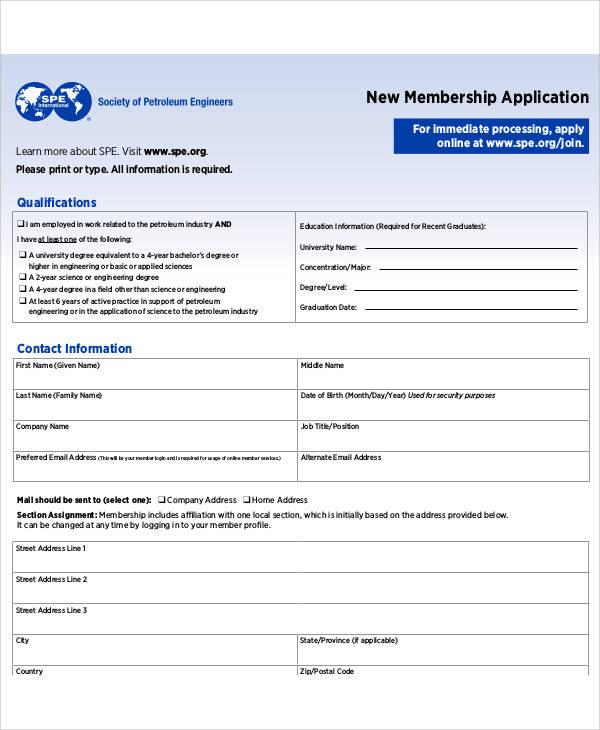 new membership application form