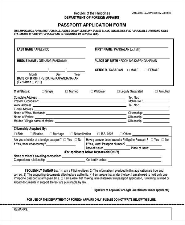 Citizenship application form sample filled visa for Application for us passport 2017