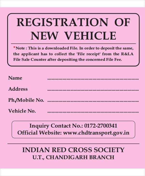 new vehicle registration form