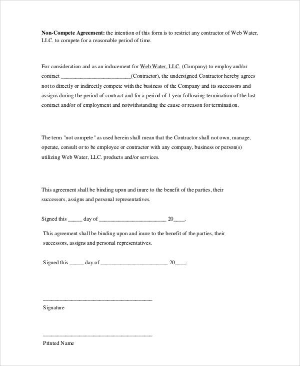 non compete agreement form pdf