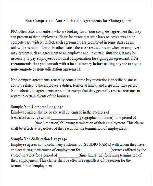 non compete agreement release form