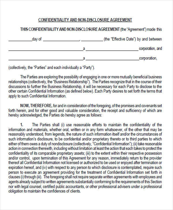 44 agreement form examples sample templates for Short non disclosure agreement template