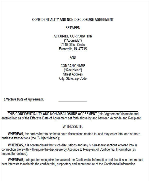non disclosure confidentiality agreement form4