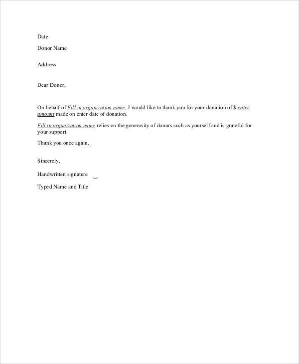 Sample Nonprofit Thank-You Letter - 6+ Examples In Word, Pdf