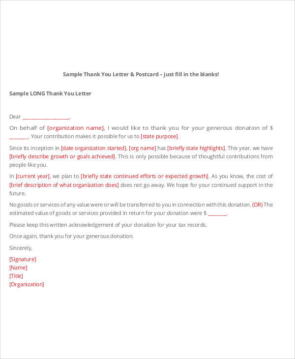 Sample Non Profit Thank You Letter  Free Sample Example Format