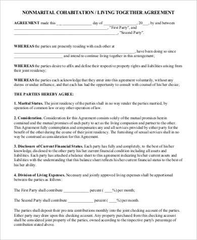 nonmarital cohabitation agreement