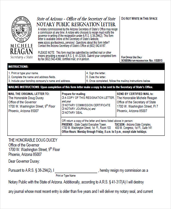 Notary Public Resignation