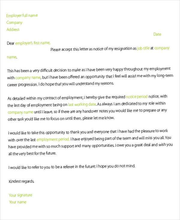 resignation letter template sample resignation letters 1570