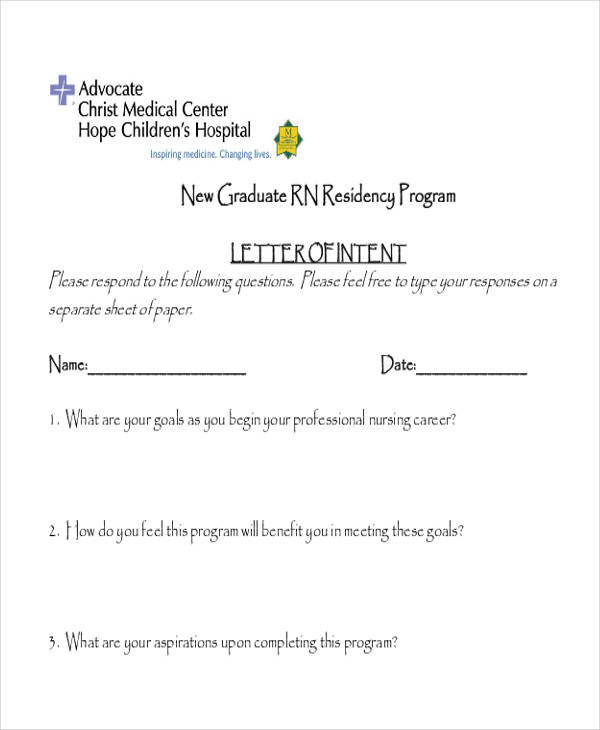 60 sample letter of intent nurse residency letter of intent spiritdancerdesigns Choice Image