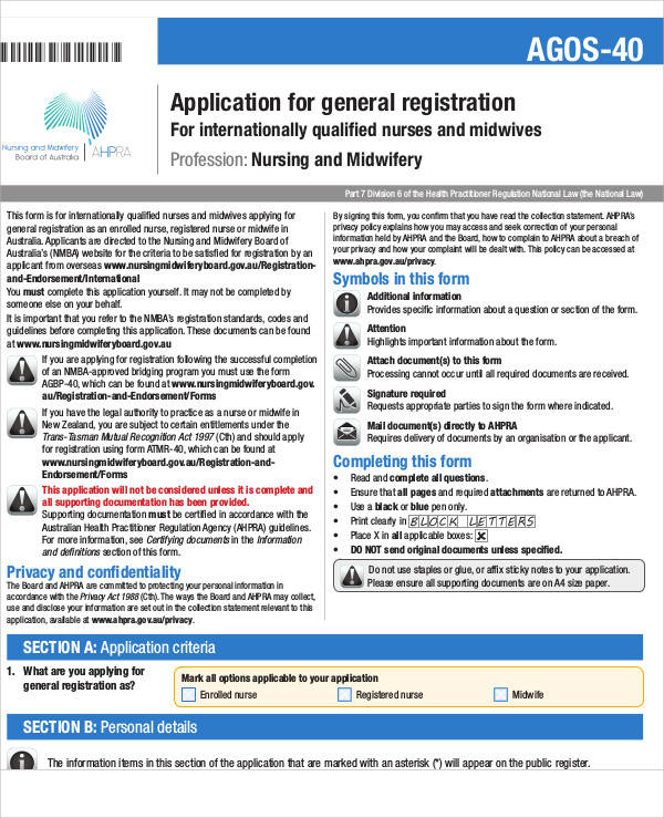 nursing application registration form