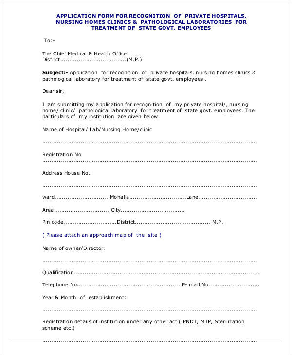nursing home registration form