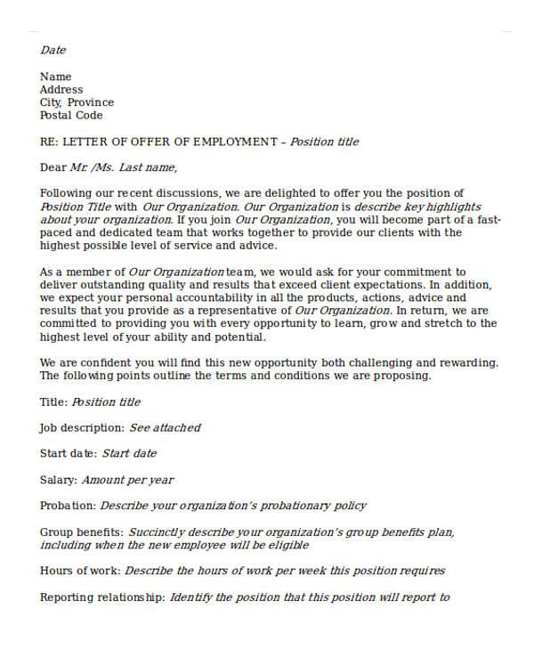offer letter of agreement