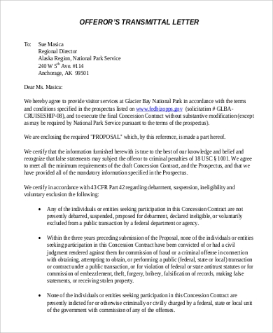 offerors proposal transmittal letter