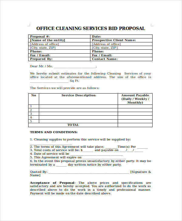 Proposal Form Templates Bid Proposal Sample Cleaning Contract