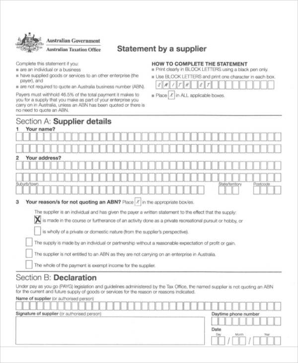 office statement by supplier form1