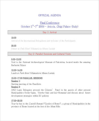 official conference agenda