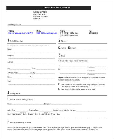 Official-Hotel-Reservation-Form1 Sample Hotel Booking Order Form on for printing company, office supply, contractor change, template wholesale clothing,