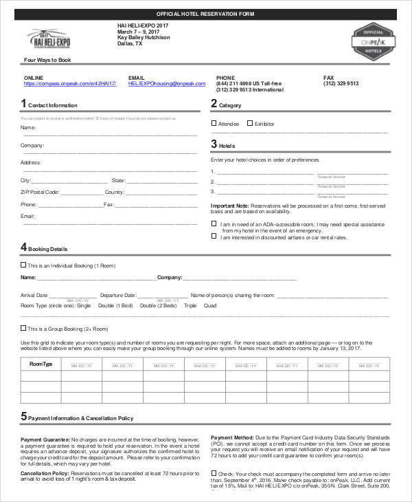 accommodation booking form template - 30 reservation forms in pdf sample templates
