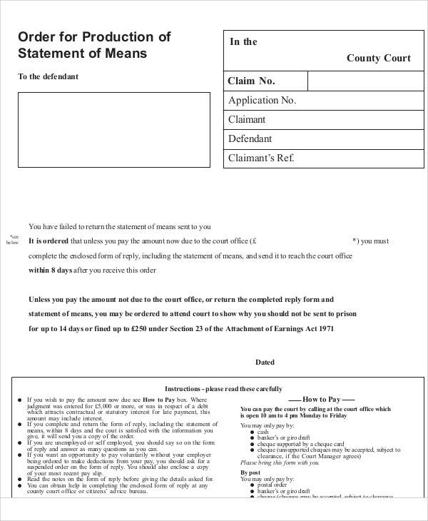order of production statement of means form