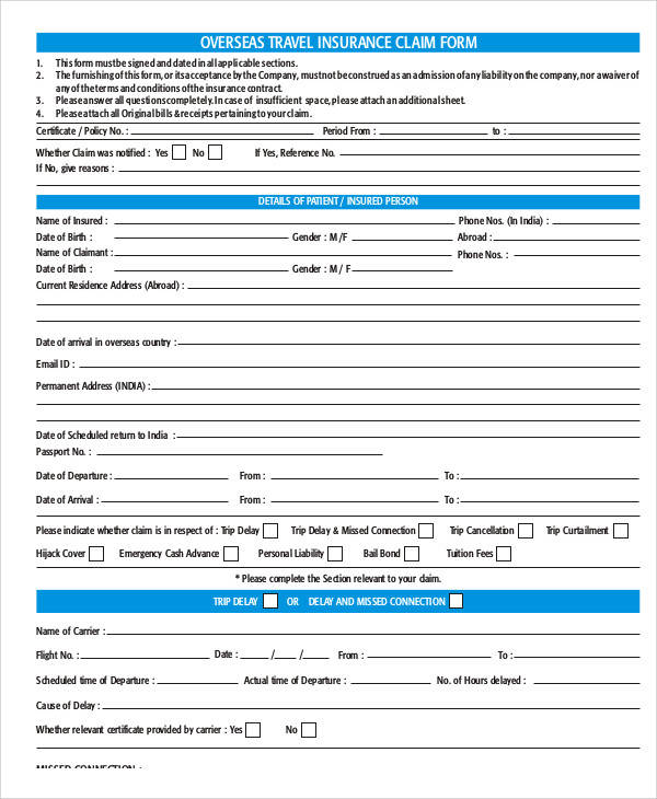 overseas travel claim form