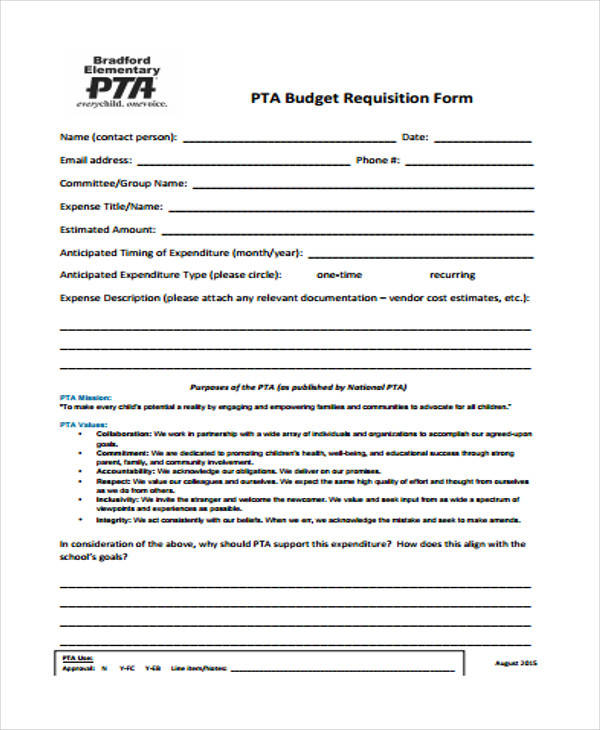 pta budget requisition form
