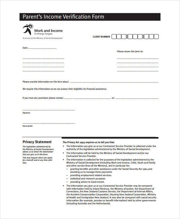 parent's income verification form