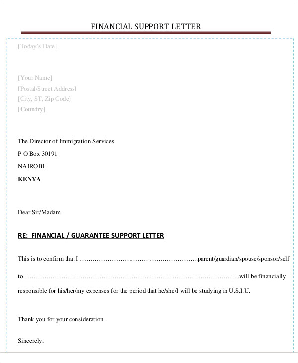 sample letter of financial support for parents