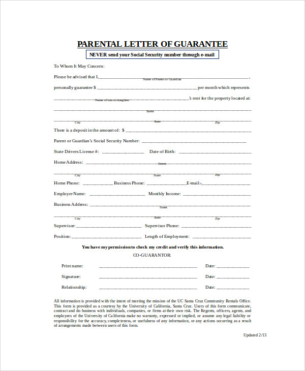 parent guarantee letter for rent