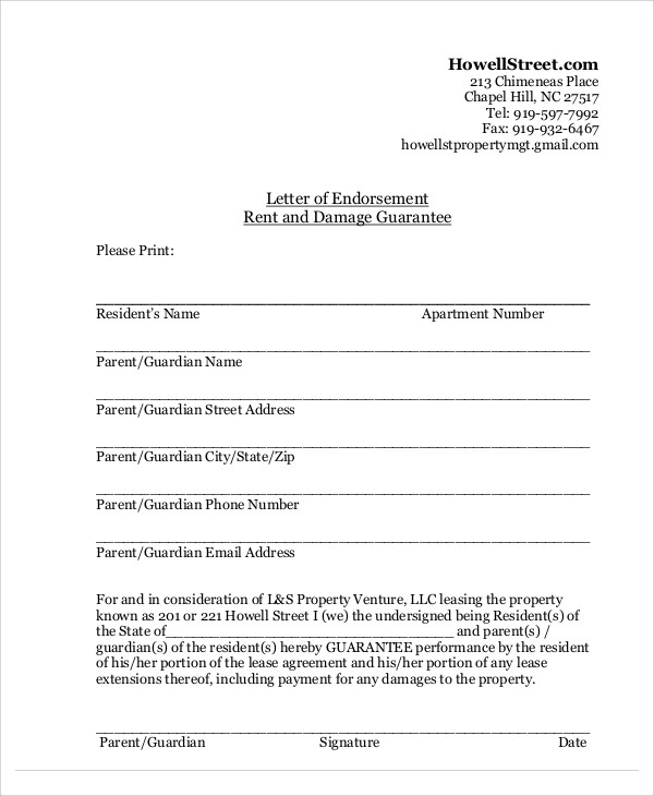 parent rent guarantee letter