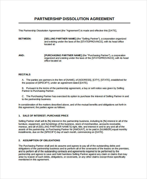 partnership dissolution agreement form