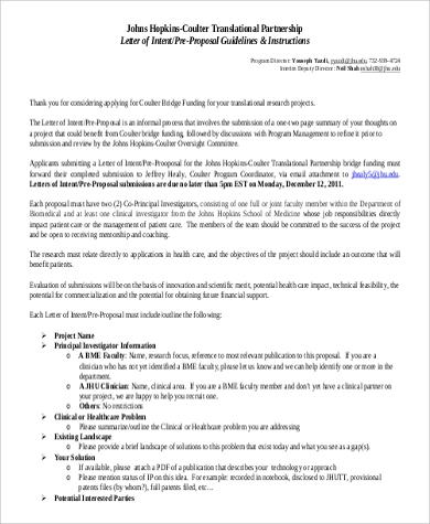 partnership letter of intent pre proposal instruction