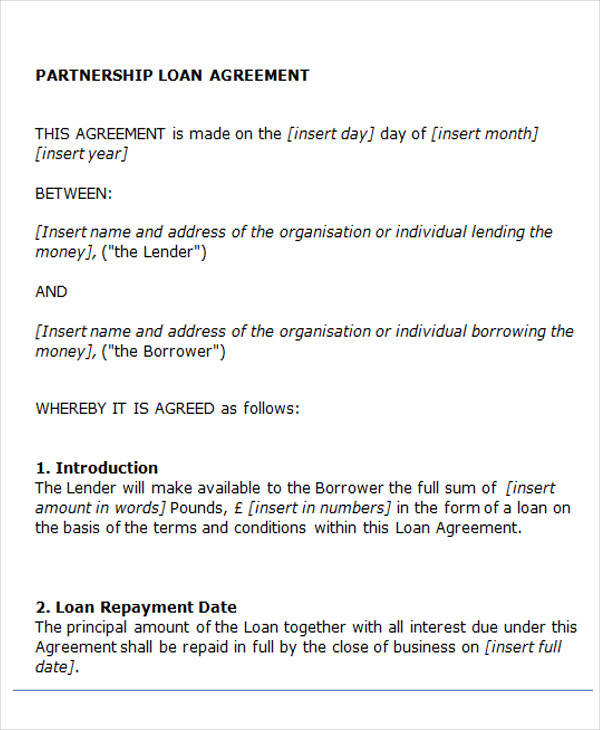 partnership loan agreement form1