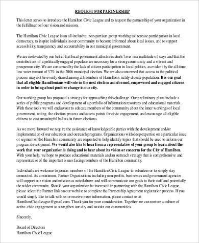 partnership request letter