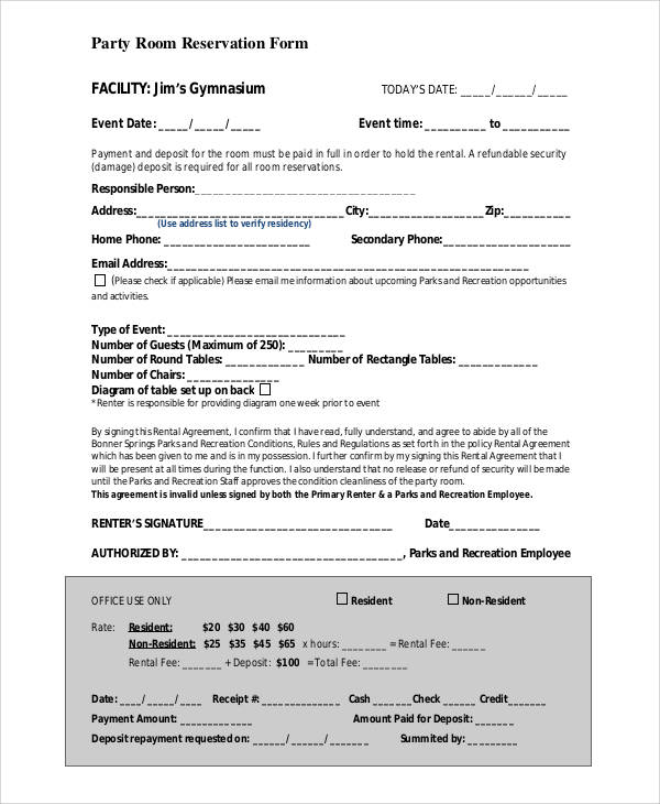 party room reservation form1