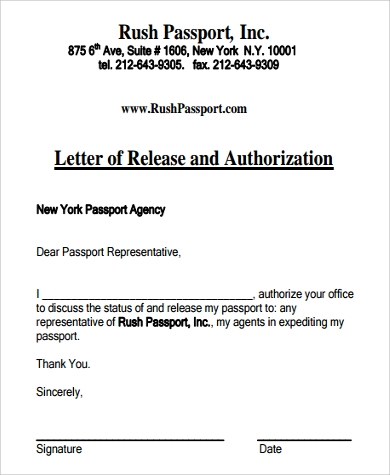 passport release authorization letter