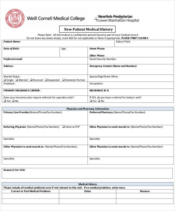 patient medical record form2