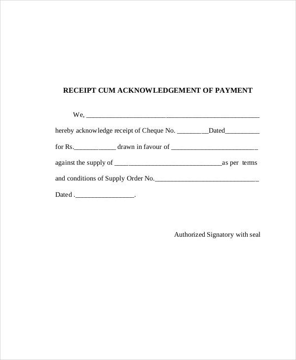 payment acknowledgement receipt sample