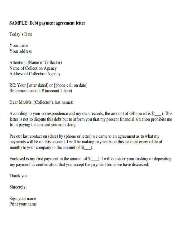 payment agreement letter