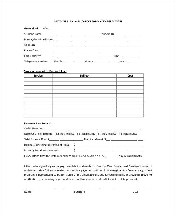 payment plan application form