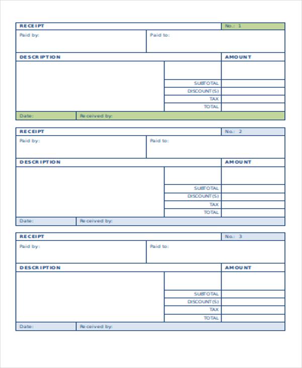payment receipt form sample