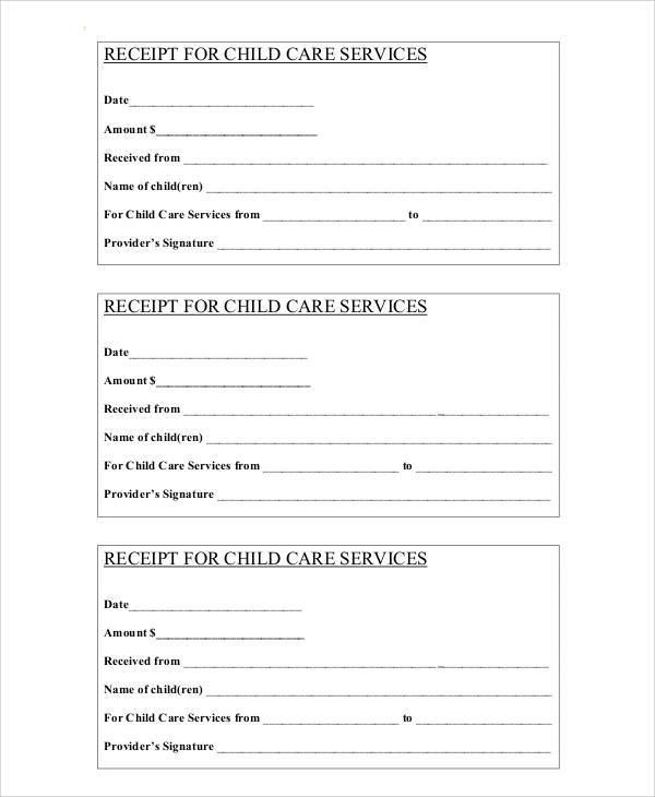 payment receipt form for child care services