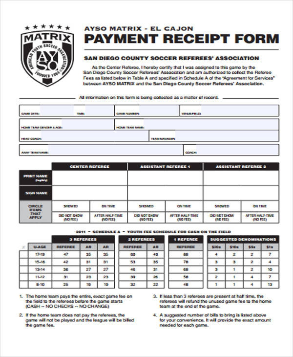 Printable Receipt Forms – Payment Receipt Form