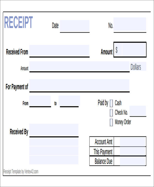 5 sample payment receipt formats sample templates