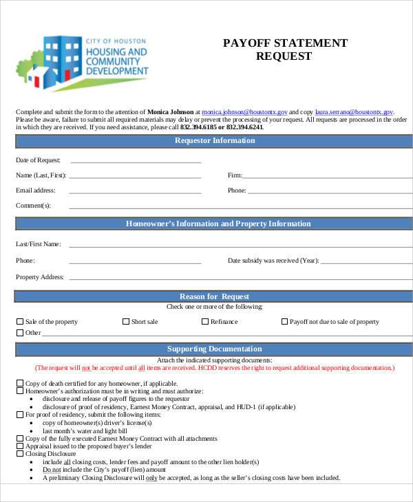 Payoff-Request-Statement-Form Sample Hud Application Form on german schengen visa, business credit, u.s. passport, us passport renewal, for matron job, auto loan, car loan,