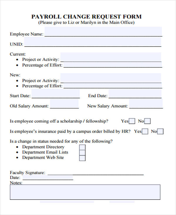 payroll change request form