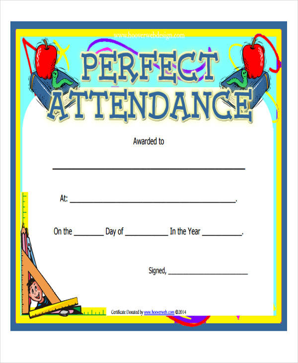 Printable award certificate perfect attendance award certificate yadclub Images