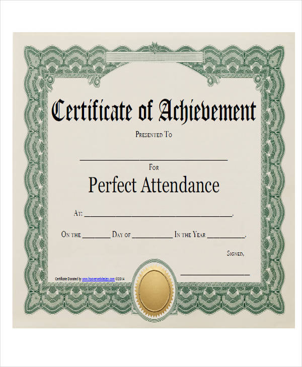 perfect attendance award certificate1