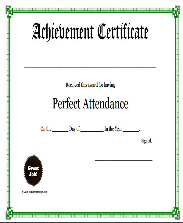perfect attendance award certificate3